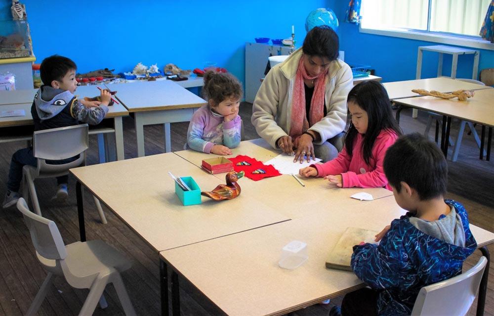 Beverly Montessori children doing art activity