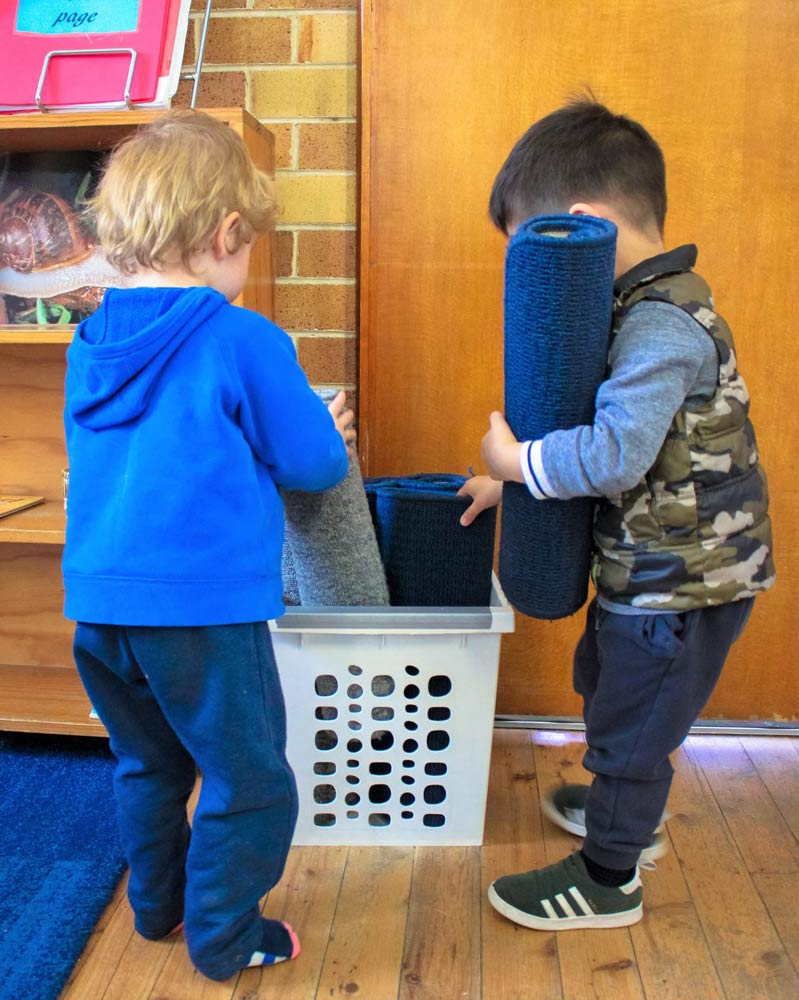 Beverly Montessori kids with mats