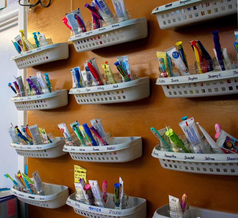 Beverly Montessori kids toothbrush rack