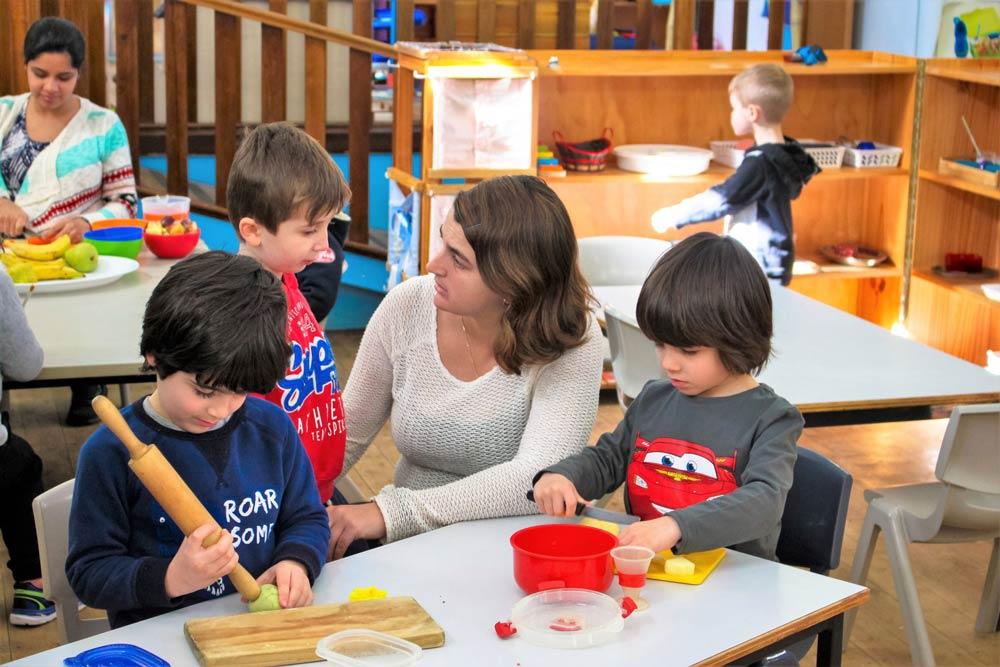 Beverly Montessori teacher with kids